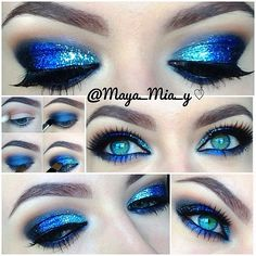 1.Apply mac saddle in the crease 2.Deep truth mac on the lid and lower lash line or any navy blue. 3.Apply any matte black eyeshadow on the outer V. 4.Apply glitter gel 5.Apply the glitter 7.Highlight the brow bone using rice paper mac 8.Smolder mac on the waterline or any black eye kohl and line with lime crime quill liner. Lashes red cherry #15