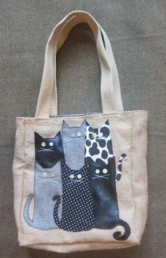 Cat assembly tote image onlycat assembly tote: do this to all those extra totes you get with company logos on them.Inspiration to covet all those free bags. Patchwork Bags, Quilted Bag, Quilted Pillow, Diy Sac, Cat Bag, Denim Crafts, Recycle Jeans, Recycled Denim, Denim Bag