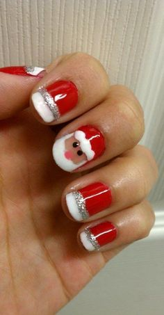 Who doesn't love properly manicured and well-groomed christmas nails. Ensuring you get as creative with your christmas nails as you are with your clothes is the industry of christmas nail art designs. Santa Nails, Xmas Nails, Holiday Nails, Christmas Manicure, Easy Christmas Nails, Christams Nails, Christmas Makeup, Cute Nails, Pretty Nails