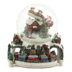 Radko RARE Santa Express Musical Revolving Christmas Snow Globe