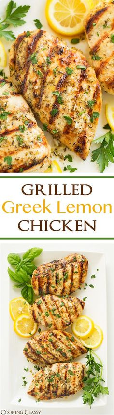 """Grilled Greek Lemon Chicken - this chicken is so easy to prepare and it's deliciously flavorful! A go to dinner recipe! Marinated and grilled to perfection! """"Repinned by Keva xo""""."""