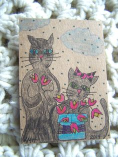 aceo*MAX & JUDY PICK SPRING FLOWERS*2 black cats**primitive*artist*original art
