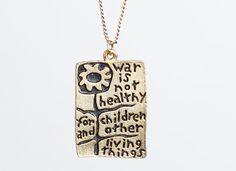 Vintage 1968 Gold PENDANT / War is Not Healthy for Children NECKLACE