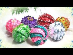christmas ornaments, DIY tutorial, Christmas balls on the Christmas tree Quilted Ornaments, Fabric Ornaments, Diy Christmas Ornaments, Holiday Crafts, Plastic Canvas Christmas, Christmas Ribbon, Christmas Star, Christmas Balls, Ribbon Art