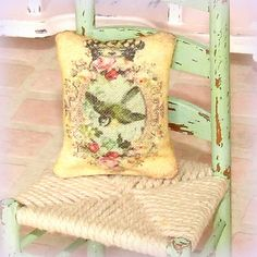 Dollhouse Miniature | Yellow Bird | Cushion Pillow | Shabby Chic | 12th Scale