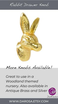 Gold Rabbit Drawer Knobs Hare Cabinet knobs for Woodland image 6