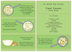 A traditional leek soup (cawl cennin) recipe, ideal to cook with your children on St. David's day at home or in your school or early years setting. Primary Teaching, Teaching Resources, St Davids Day Recipes, Welsh Recipes, Saint David's Day, Leek Soup, Eyfs, Holidays, Vegetables