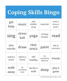 Art therapy activities for teens Coping Skills Bingo Coping Skills Activities, Group Therapy Activities, Therapy Games, Activities For Teens, Counseling Activities, Therapy Tools, Play Therapy, Therapy Ideas, School Counseling