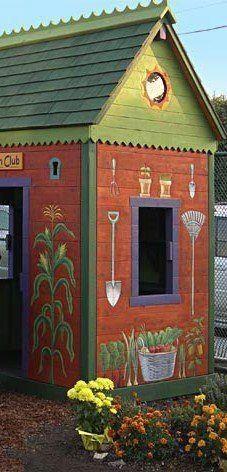 of the Perfect Potting Shed Colorful garden shed!Colorful garden shed!Pursuit of the Perfect Potting Shed Colorful garden shed!Colorful garden shed! Dream Garden, Garden Art, Garden Design, Garden Sheds, Backyard Sheds, Garden Tools, Garden Club, Landscape Design, Unique Gardens