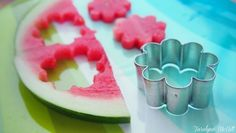 use cookie cutter to make shapes out of watermelon, cantaloupe, etc... decorate top of cakes, yogurt, etc. for a summer party