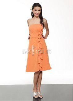 A line Chiffon Knee Length Strapless Sleeveless Bridesmaids Dress. Okmi  Abiti Wedding Dresses · abiti da damigella 226bf2914f9d