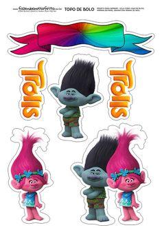 Trolls: Toppers para Tartas, Tortas, Pasteles, Bizcochos o Cakes para Imprimir Gratis.