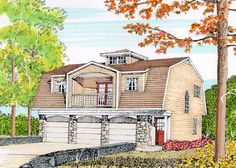 Pastoral Carriage House- I'd rather have a big master and a walk in closet than two bdrm Carriage House Plans, Roof Lines, Garage Apartments, Garages, House Floor Plans, Cottages, Architecture Design, Solar, Flooring