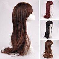Wish   Womens Long Curly Wavy Full Wigs Party Hair Cosplay Fashion Wig