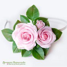 """Купить Ободок с розами """"Романтика"""" - цветы, цветы из полимерной глины…"""
