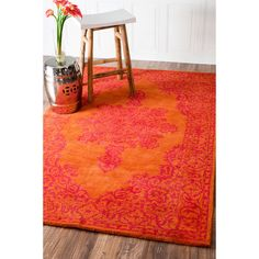 nuLOOM Handmade Traditional Wool Fancy Orange Rug (7'6 x 9'6) - Overstock Shopping - Great Deals on Nuloom 7x9 - 10x14 Rugs