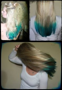 Manic Panic Atomic Turquoise with After Midnight tips - I did the front and Ty did the back!