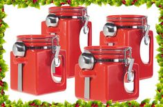 Set of 4 EZ grip handle airtight canisters. Oggi® Ceramic EZ Grip Airtight Canister Set look great right on your kitchen counter! Each canister has its own stainless steel spoon for easy access to the contents inside. Red Kitchen Canisters, Red Kitchen Appliances, Kitchen Items, Kitchen Storage, Food Storage, Storage Organization, Kitchen Stuff, Kitchen Gadgets, Kitchen Dining
