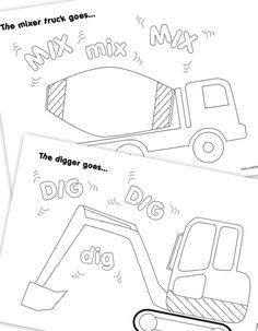 Construction Vehicle Colouring Pages - Construction Party Printables on Etsy, $2.61 CAD... M be have a coloring table as activity?