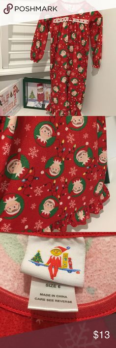 ELF ON THE SHELF GIRLS CHRISTMAS NIGHT GOWN soft winter night gown, Elf on the Shelf brand flame resistant night gown. size 6 elf on the shelf Pajamas Nightgowns