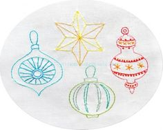 Christmas Retro Ornaments Embroidery Pattern PDF