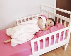 Baby making the great escape? Here are tips on how to make the toddler bed transition when it needs to happen quickly! Crib Mattress, Cot, Toddler Bed Transition, Dresser Furniture, Sleep Sacks, Childproofing, Baby Makes, New Beds, Kids Sleep