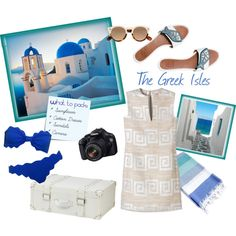 What to pack for a trip to Santorini, Greece. You'll need a cute outfit for wine tasting and dinners as well as a swimsuit, sunglasses to explore the beach.