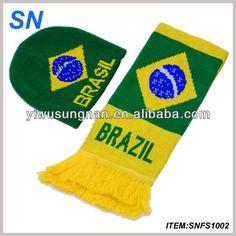 Latest 2014 World Cup Brazil Team football scarf, football fan knitted sport scarf and hat $1.65~$2.35