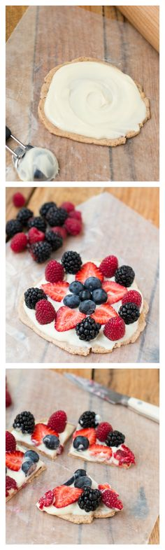 easy fruit pizza that's so good for you too! Shhh, it's made with a protein bar! ohsweetbasil.com