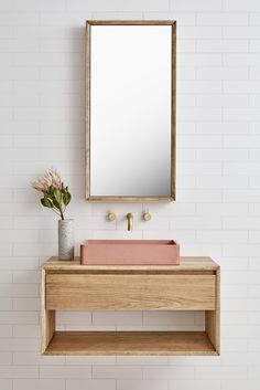 The Baxter Single basin vanity (Loughlin Furniture). Pink concrete basin.