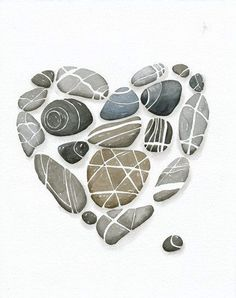 Items similar to Heart Pebbles Art Print No. Limiterd Watercolor Edition by Lorisworld on Etsy - Heart pebbles Art print n ° 8 x 10 Limiterd Watercolor edition by Lorisworld Pebble Painting, Pebble Art, Stone Painting, Pebble Stone, Rock Painting, Watercolor Painting, Stone Crafts, Rock Crafts, Art Rupestre