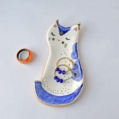Ceramic Cat Dish - Mrs Bisquit Art