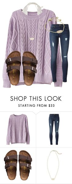 """Pretty Purple"" by katielroberts on Polyvore featuring WithChic, Hudson, Birkenstock and Kendra Scott"