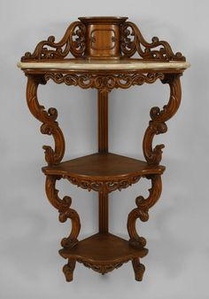 American Victorian Rosewood 3 Tier Corner Hanging Etagere Cabinet With White Marble Top Shelf And Filigree Carved Trim