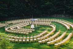 unique circular seating for the ceremony | Photography by heatherwaraksa.com | Event Planning + Coordination by http://heidzillas.com |  Read more - http://www.stylemepretty.com/2013/06/07/ohio-wedding-from-heather-waraksa/