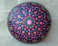 Painted mandala stone dotted rock handpainted ~ meditation paperweight decoration handpainted natural spiritual hippy boho bohemian gift