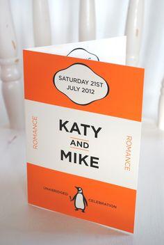 book lover wedding invitation | penguin books wedding invitations | book weddings