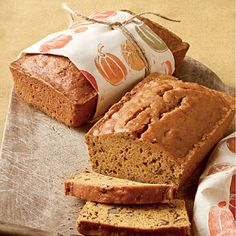 Pecan-Pumpkin Bread | Wrap the loaf in an adorable tea towel for an impressive finish. | SouthernLiving.com