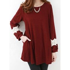 Stylish Scoop Collar Lace Splicing Loose Long Sleeve Women's T-Shirt, RED, ONE SIZE in Long Sleeves | DressLily.com