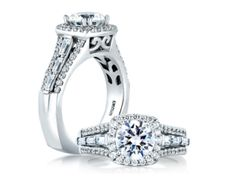 A. Jaffe MES279/249 Mounting with Certified 1.50ct Center Round Brilliant Engagement Ring