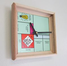 Wall Clock Recycled Monopoly Board and Scrabble by MissCourageous, $30.00