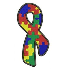 Support Autism Awareness with This Ribbon Machine Embroidery Digitized Design Pattern - Instant Download - 4x4 , 5x7, and 6x10 -hoops #embroidery #machineembroidery #applique #digitized #needlework #sew #patterns #support #autism