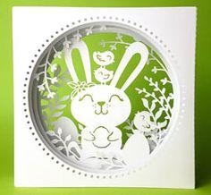 Osterkarte geschnitten mit meinem Plotter (Cameo) - Plotterdatei Tunnelkarte Hase mit Vögelchen von MiriamKreativ.de