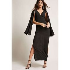Forever21 Cape-Sleeve Chiffon Maxi Dress (270 HKD) ❤ liked on Polyvore featuring dresses, gowns, black, chiffon gowns, long sleeve evening dresses, long ball gowns, long sleeve evening gowns and long gown