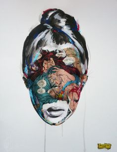 Mixed media artist, Sandra Chevrier, masterfully executes the unlikely combination of superheroes and supermodels. The portraits begin with drawings in ink and Sandra Chevrier, Collages, Illustration Arte, Modern Art Movements, Modern Pop Art, Contemporary Art, Wow Art, Black And White Drawing, Watercolor Artists