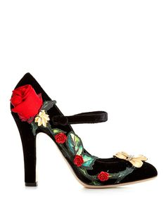 Not actually going to buy these but it's kinda cool - Rose embellished velvet pumps | Dolce & Gabbana | MATCHESFASHION.COM US