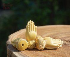Natural Wood Bead 2pcs Boxwood Guru Bead Carved by DaoCaoStudio