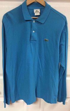 Lacoste Turquoise Blue Long Sleeve Polo Shirt Size 5 Medium LkN 100% Cotton  #Lacoste #PoloRugby