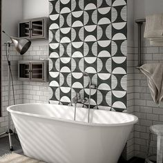 Bodenfliese Equipe Caprice Deco Moonline B&W cm Tiny Bathrooms, Laundry In Bathroom, Floor Art, Wall And Floor Tiles, Floor Patterns, Tile Patterns, Black And White Tiles, Black White, Kitchen Wall Tiles