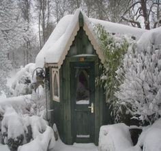 storybook cottage in winter